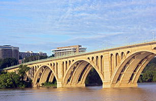 Francis Scott Key Bridge connects Washington D.C with Virginia.